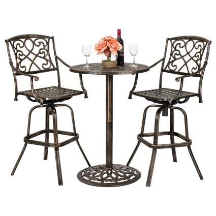 wrought iron bar height bistro set