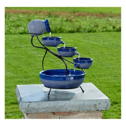 blue cascading bowls solar fountain