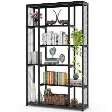 Bookcase Bookshelf with Metal Mesh