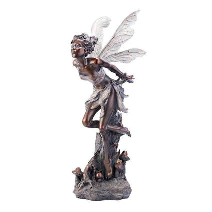 bronze kissing fairy garden sculpture