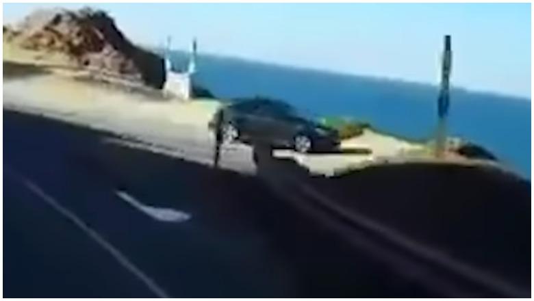 Car Flies off Cliff California