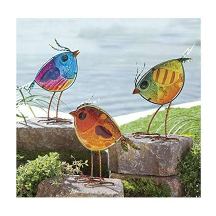 colorful glass bird garden statues