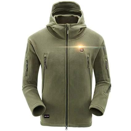 DEWBU Men's Full-Zip Polar Fleece Heated Hoodie