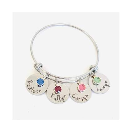 Dots of Sugar Personalized Birthstone & Names Charm Bracelet