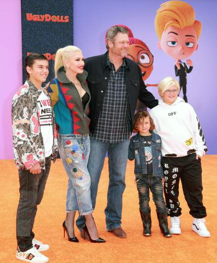Blake Shelton with Gwen Stefani and her three sons