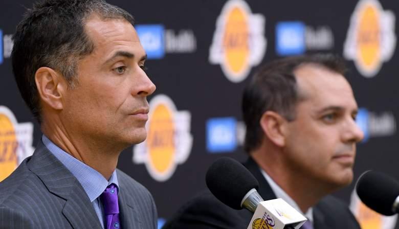 Lakers GM Rob Pelinka, with coach Frank Vogel