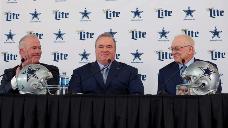 Cowboys VP Stephen Jones, HC Mike McCarthy, owner Jerry Jones
