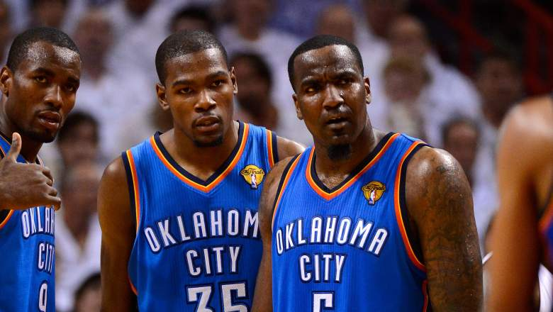 Kevin Durant and Kendrick Perkins, in happier times.