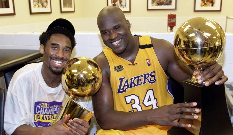 Kobe Bryant and Shaquille O'Neal after their first championship in 2000