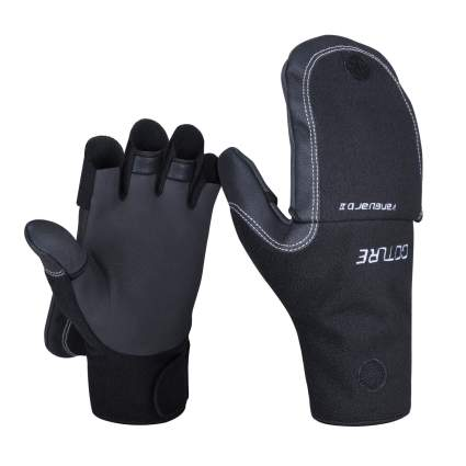 Goture Polar Fleece Lined Neoprene Winter Ice Fishing Gloves