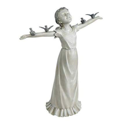 Little girl with birds garden statue