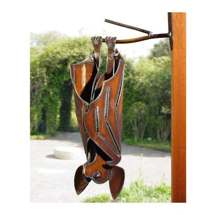 metal hanging bat sculpture