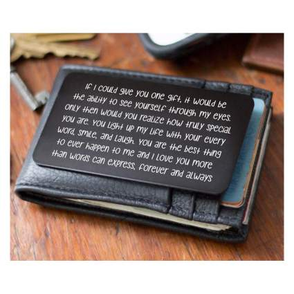 metal wallet card love note
