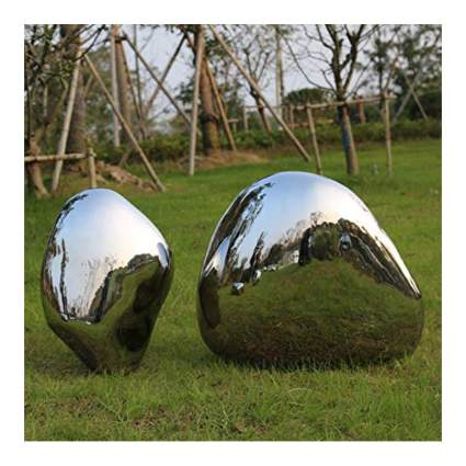 mirror polish stainless steel elliptical garden sculptures