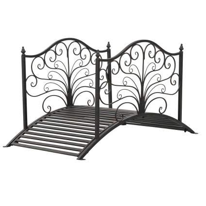 Outsunny 4' Metal Arched Backyard Decorative Garden Bridge