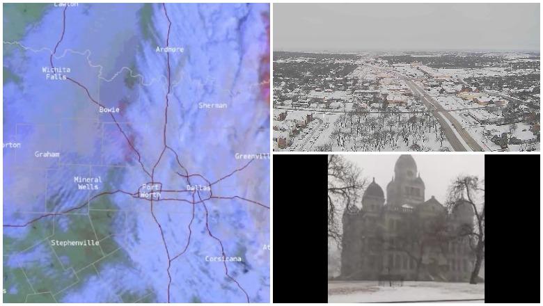 Snow in Denton and Dallas