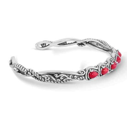 red coral and sterling silver bangle bracelet