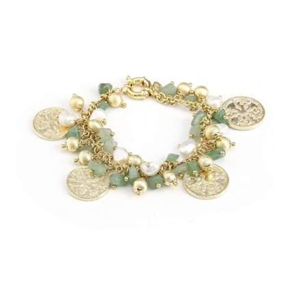 Rivka Friedman 18K Gold Clad Aventurine + Pearl Charm Bracelet