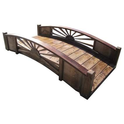 SamsGazebos 6' Sunburst Wood Garden Bridge