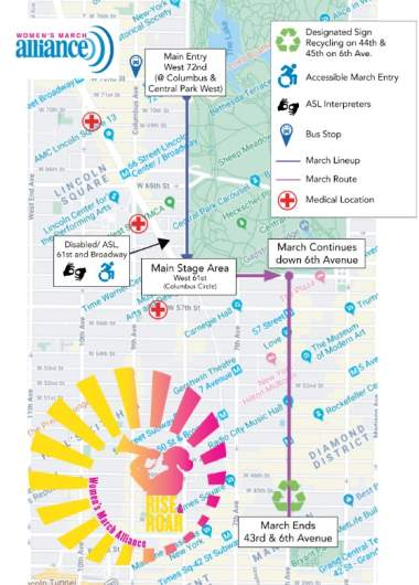Women's March NYC map