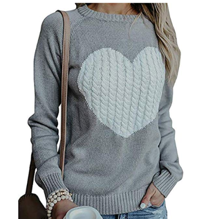 Crewneck Heart Knitted Sweater