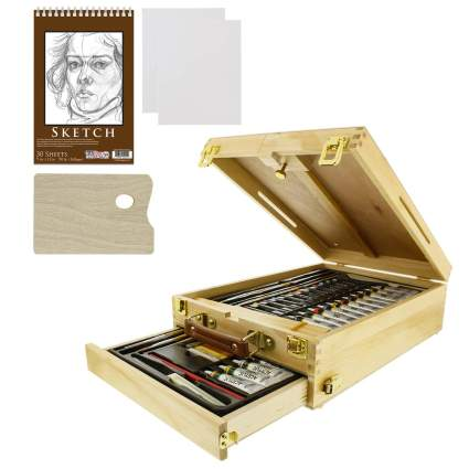 US Art Supply 62-Piece Wood Box Easel Painting Set