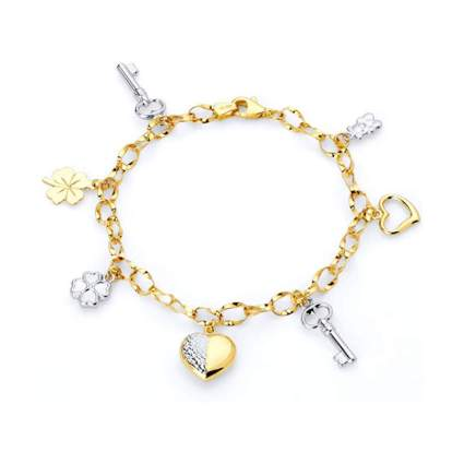 Wellingsale 14k White and Yellow Gold Polished Charm Bracelet