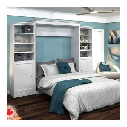 queen murphy bed with storage units
