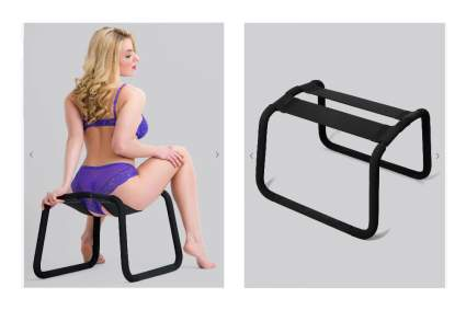 Woman in purple lingerie on black adult positioning stool