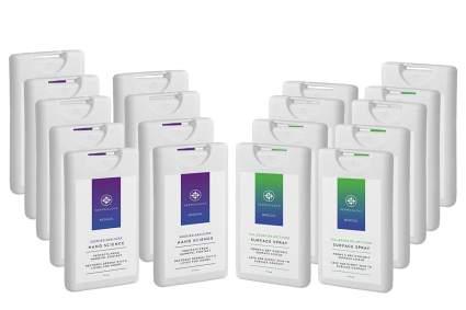 18 pocket sized sanitizer bottles