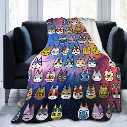 Animal Crossing Cat Characters Micro Fleece Blanket
