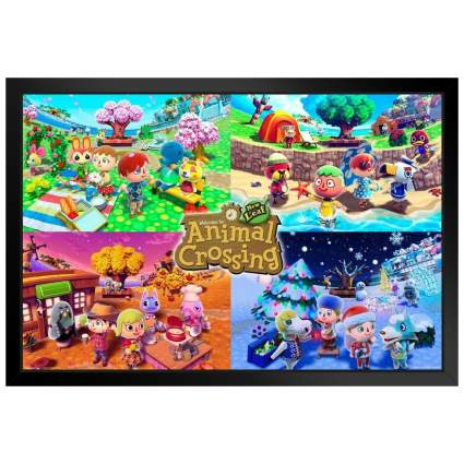 Animal Crossing Four Seasons Black Wood Framed Poster
