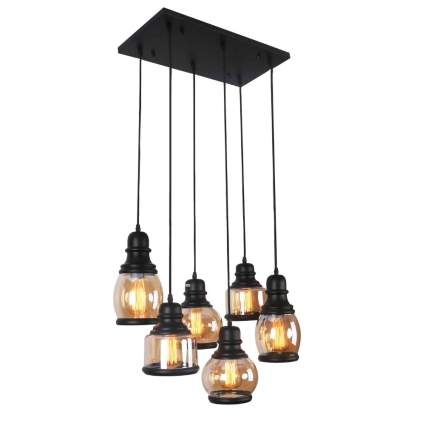 antique black and glass jar multi pendant light