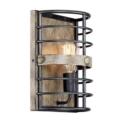 barn wood and wire cage light sconce