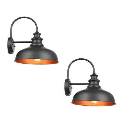black and copper exterior farmhouse sconces