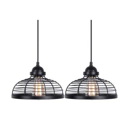 black metal cage pendant lights
