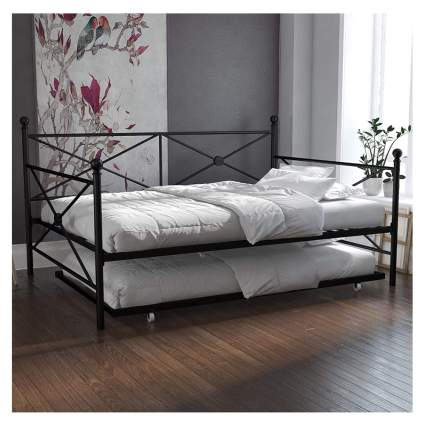 black metal daybed with trundle bed