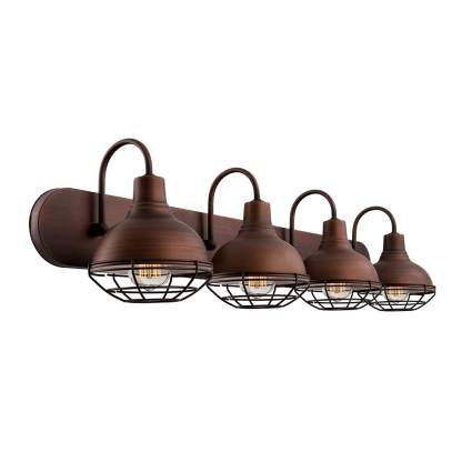 brushed bronze cage light vanity fixture