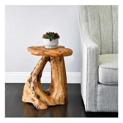 cedar log side table