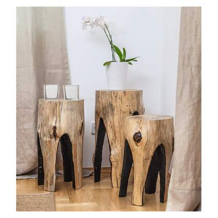cedar stump side tables