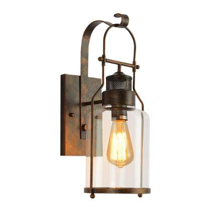 clear glass rusty retro sconce light
