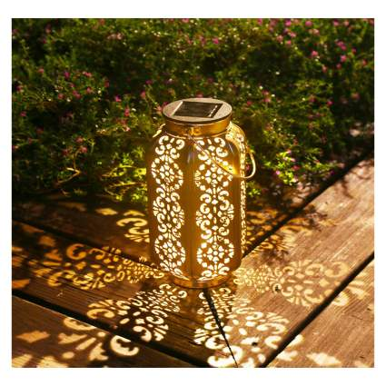 copper solar floor lantern