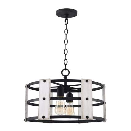 distressed wood and metal farmhouse chandelier