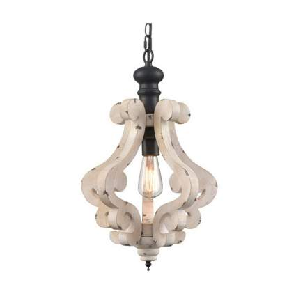 distressed wooden farmhouse chandelier