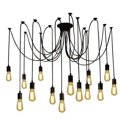 edison light spider chandelier