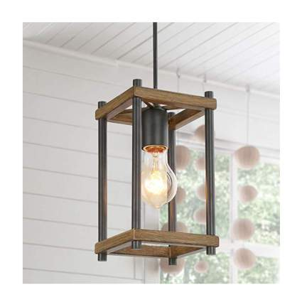 faux wood farmhouse pendant light