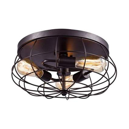 semi flush mount caged ceiling light fixture