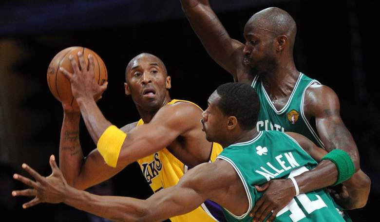Kobe Bryant, left, and Kevin Garnett, right, as rivals