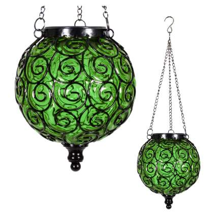 green handblown glass hanging solar lantern