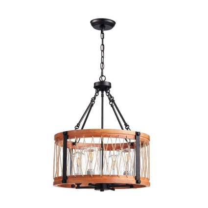 hanging wood and metal drum light